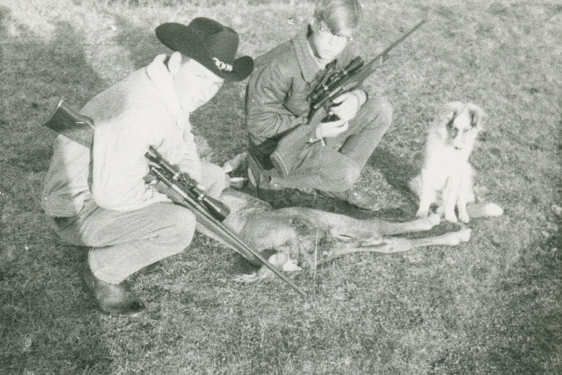 Brad and Ab with colt that wolf killed - 1969