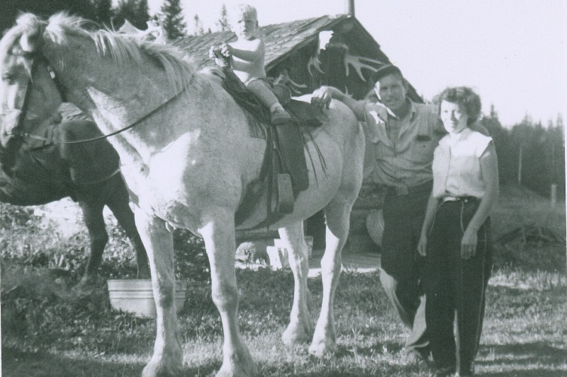 Brad on horse with Hap and Clara - 1956