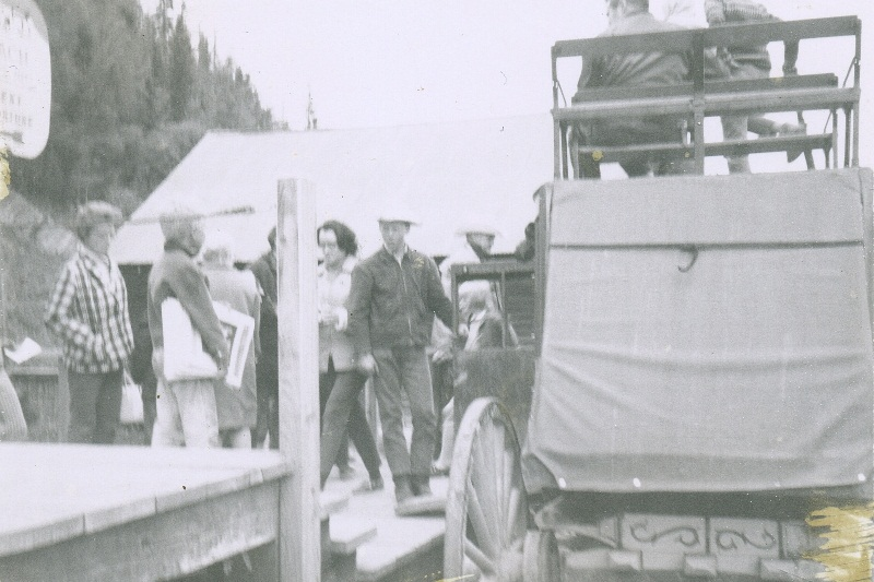 Brad working stagecoach in Barkerville - 1967